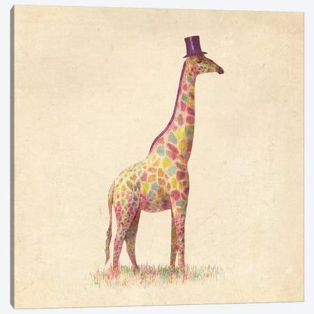 Fashionable Giraffe Square Canvas Print #TFN74} by Terry Fan Art Print