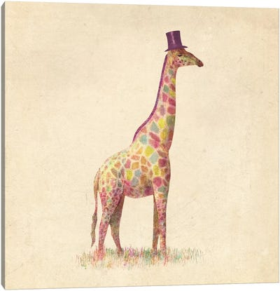 Fashionable Giraffe Square Canvas Art Print