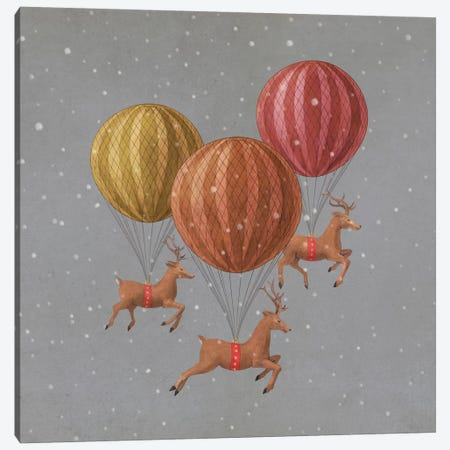 Flight of the Deer Grey Square Canvas Print #TFN81} by Terry Fan Art Print