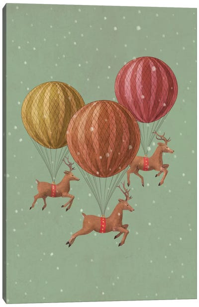 Flight Of The Deer Green Canvas Print #TFN83