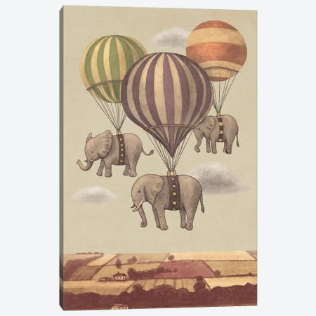 Flight Of The Elephants Canvas Print #TFN85} by Terry Fan Canvas Wall Art