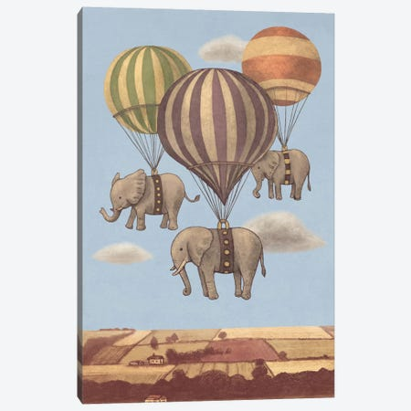 Flight Of The Elephants Blue Canvas Print #TFN86} by Terry Fan Canvas Artwork