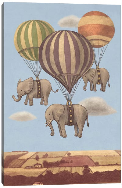 Flight Of The Elephants Blue Canvas Art Print