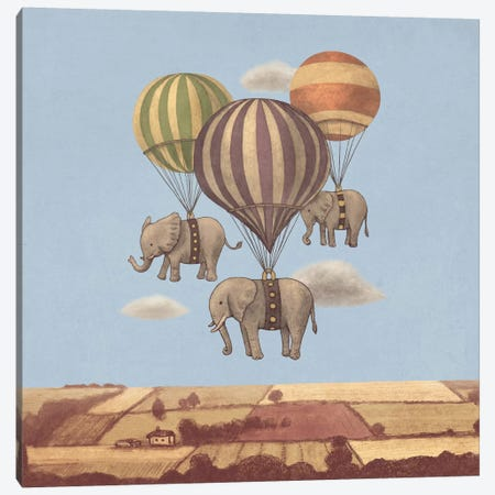 Flight Of The Elephants Blue Square Canvas Print #TFN87} by Terry Fan Canvas Wall Art