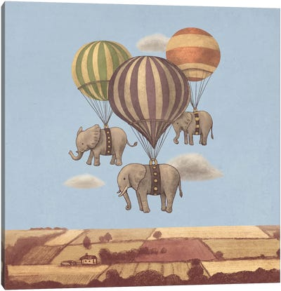 Flight Of The Elephants Blue Square Canvas Print #TFN87