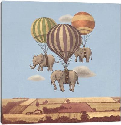 Flight Of The Elephants Blue Square Canvas Print #TFN87