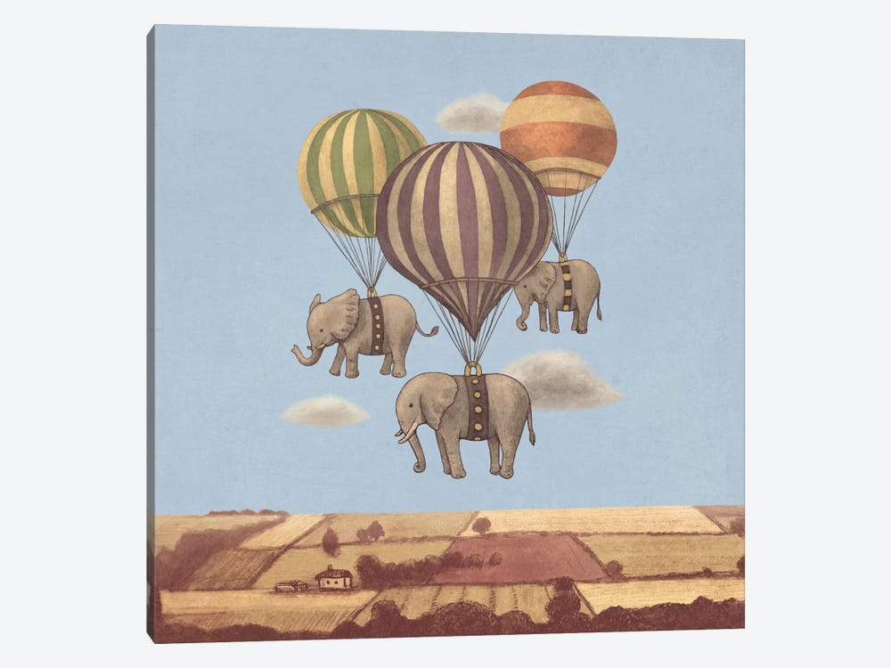 Flight Of The Elephants Blue Square by Terry Fan 1-piece Canvas Wall Art