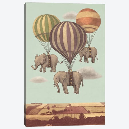 Flight Of The Elephants Mint Canvas Print #TFN88} by Terry Fan Canvas Art Print