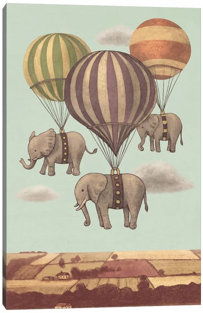 Flight Of The Elephants Mint Canvas Art Print