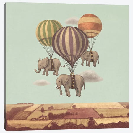 Flight Of The Elephants Mint Square Canvas Print #TFN89} by Terry Fan Canvas Art Print