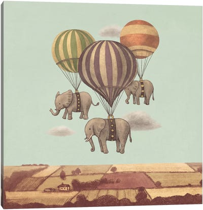 Flight Of The Elephants Mint Square Canvas Print #TFN89