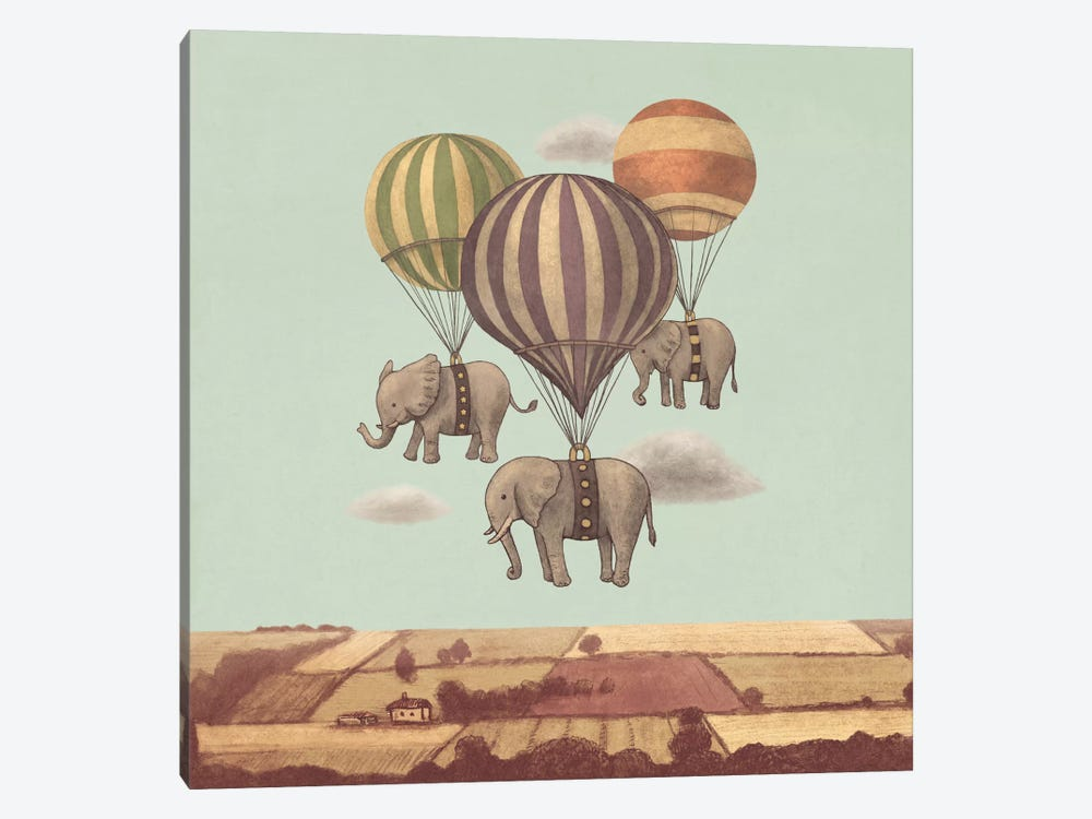 Flight Of The Elephants Mint Square by Terry Fan 1-piece Canvas Wall Art