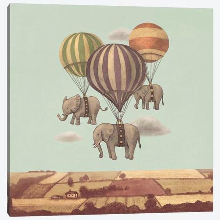 Flight Of The Elephants Mint Square Canvas Print #TFN89} by Terry Fan Canvas Art Print