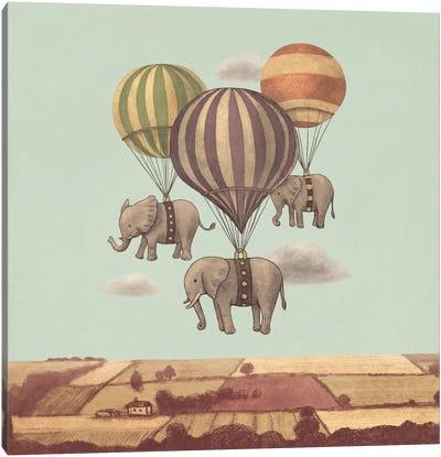 Flight Of The Elephants Mint Square Canvas Art Print
