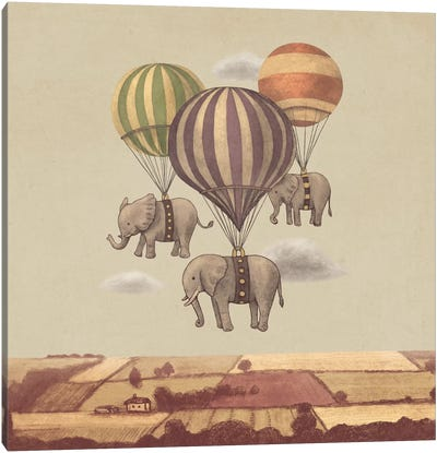 Flight Of The Elephants Square Canvas Art Print