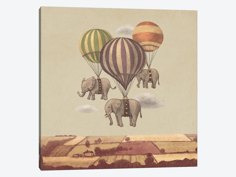 Flight Of The Elephants Square by Terry Fan 1-piece Canvas Wall Art