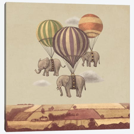 Flight Of The Elephants Square Canvas Print #TFN90} by Terry Fan Canvas Art