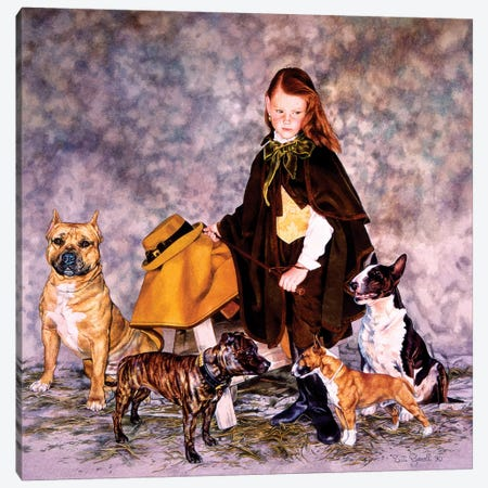 Fanciulla con Bulldogs Canvas Print #TGA12} by Titti Garelli Canvas Art