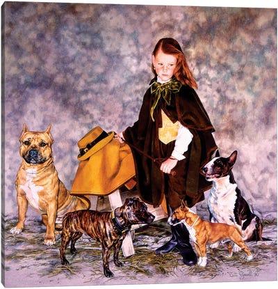 Fanciulla con Bulldogs Canvas Art Print