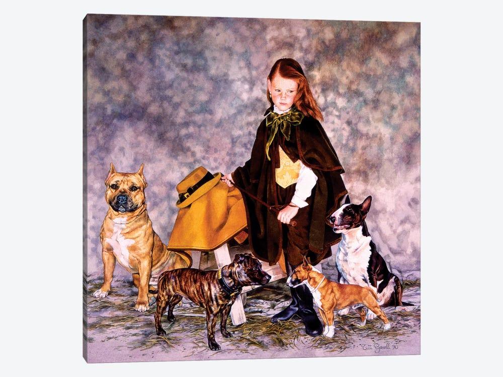 Fanciulla con Bulldogs by Titti Garelli 1-piece Canvas Art