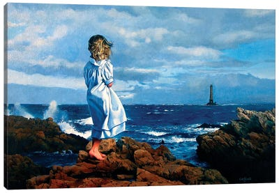 La Ragazza e il Mare Canvas Art Print
