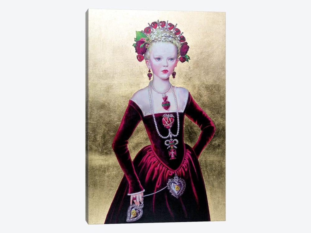 Regina di Cuori von Fondo Oro by Titti Garelli 1-piece Canvas Artwork