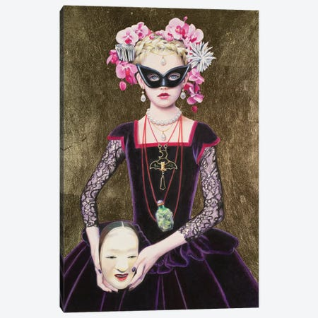 Noh Mask Queen Canvas Print #TGA49} by Titti Garelli Art Print