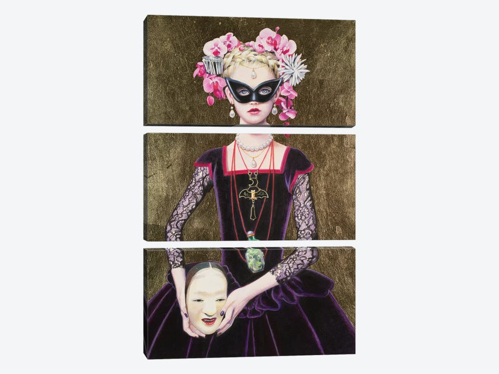 Noh Mask Queen by Titti Garelli 3-piece Canvas Artwork