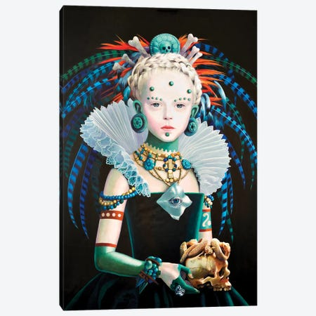 Regina Maya In Verde Canvas Print #TGA55} by Titti Garelli Canvas Art Print