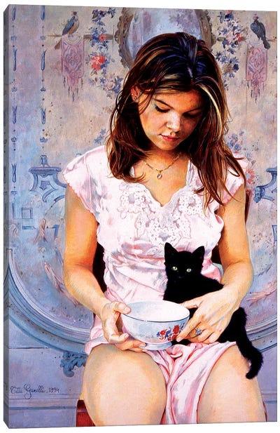 Elisa e il Gattino Canvas Art Print
