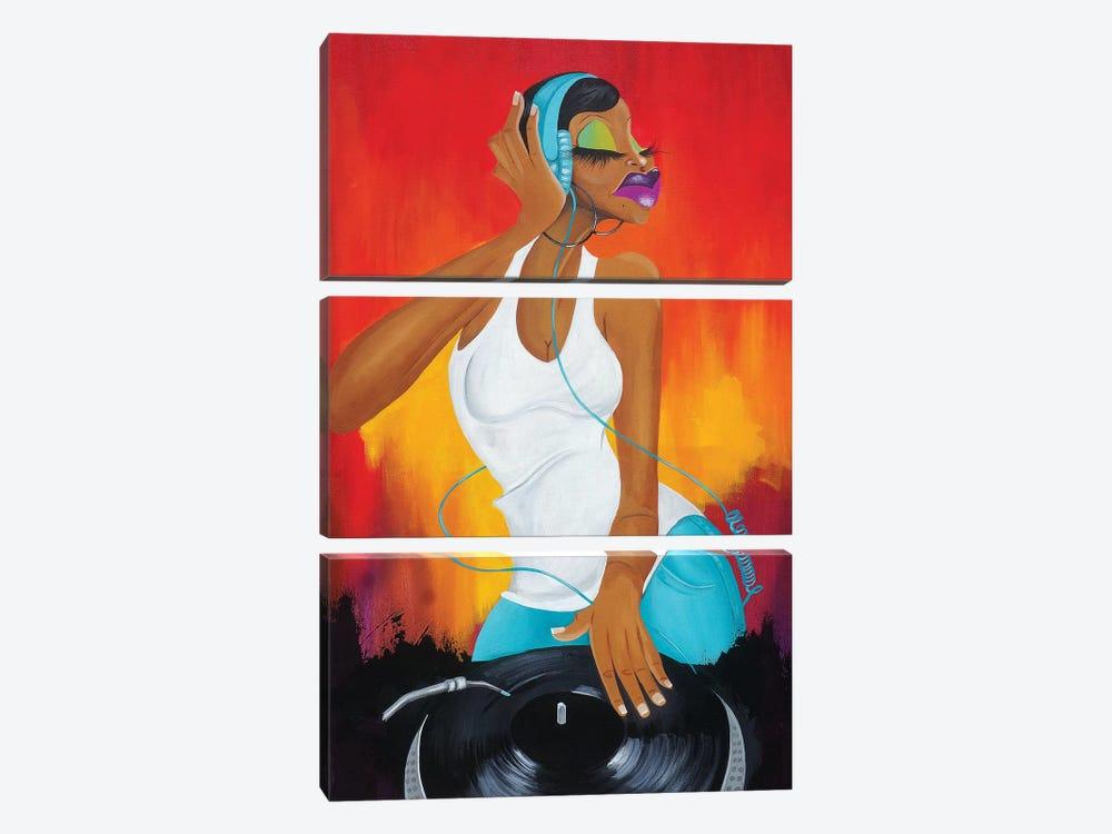 Hey Ms. DJ by Tiffani Glenn 3-piece Art Print