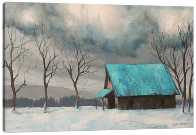 Winter Barn Canvas Art Print