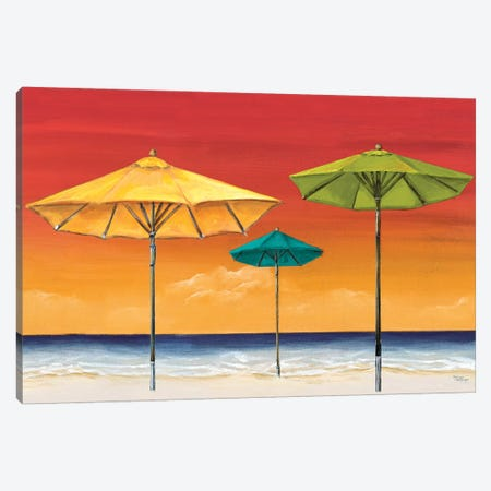 Tropical Umbrellas I Canvas Print #THK14} by Tiffany Hakimipour Canvas Art Print
