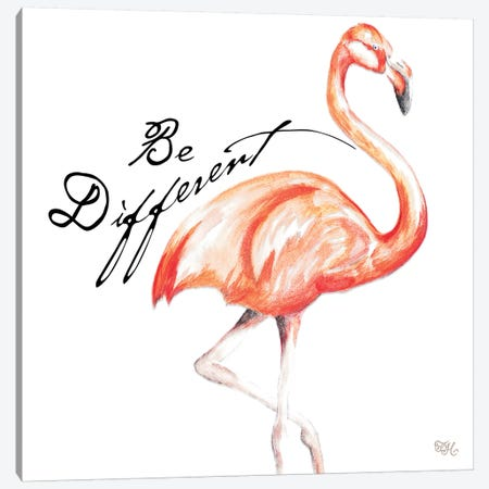 Be Different Flamingo I Canvas Print #THK1} by Tiffany Hakimipour Canvas Wall Art