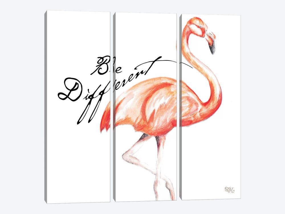 Be Different Flamingo I by Tiffany Hakimipour 3-piece Canvas Wall Art
