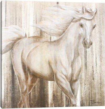 Horse On Grass Abstract Canvas Art Print