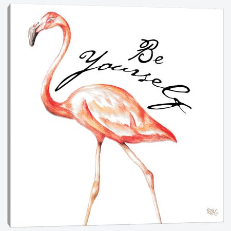 Be Different Flamingo II Canvas Print #THK2} by Tiffany Hakimipour Canvas Art