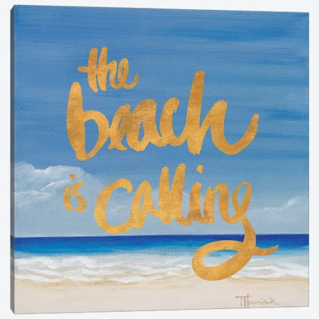 The Beach Is Calling Canvas Print #THK31} by Tiffany Hakimipour Canvas Art
