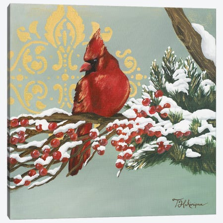 Winter Red Bird I Canvas Print #THK32} by Tiffany Hakimipour Canvas Artwork