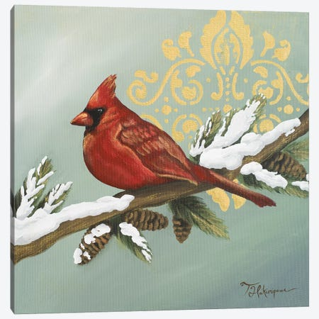 Winter Red Bird II Canvas Print #THK33} by Tiffany Hakimipour Canvas Art