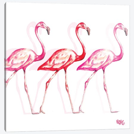 Flamingo Trio I Canvas Print #THK3} by Tiffany Hakimipour Canvas Artwork
