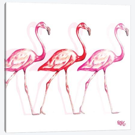 Flamingo Trio I Canvas Print #THK3} by Tiffany Hakimipour Canvas Artwork
