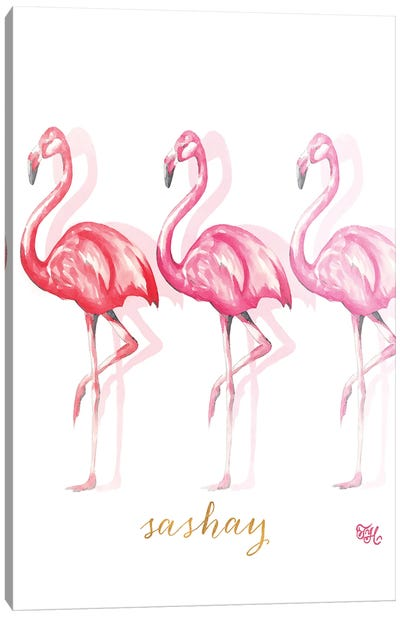 Fashion Flamingos II Canvas Art Print