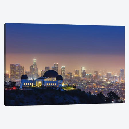 L.A. Skyline With Griffith Observatory Canvas Print #THV2} by Toby Harriman Canvas Artwork