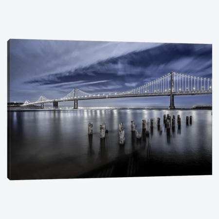 The Bay Bridge Lights Canvas Print #THV4} by Toby Harriman Art Print