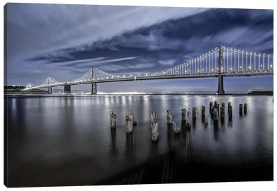 The Bay Bridge Lights Canvas Art Print