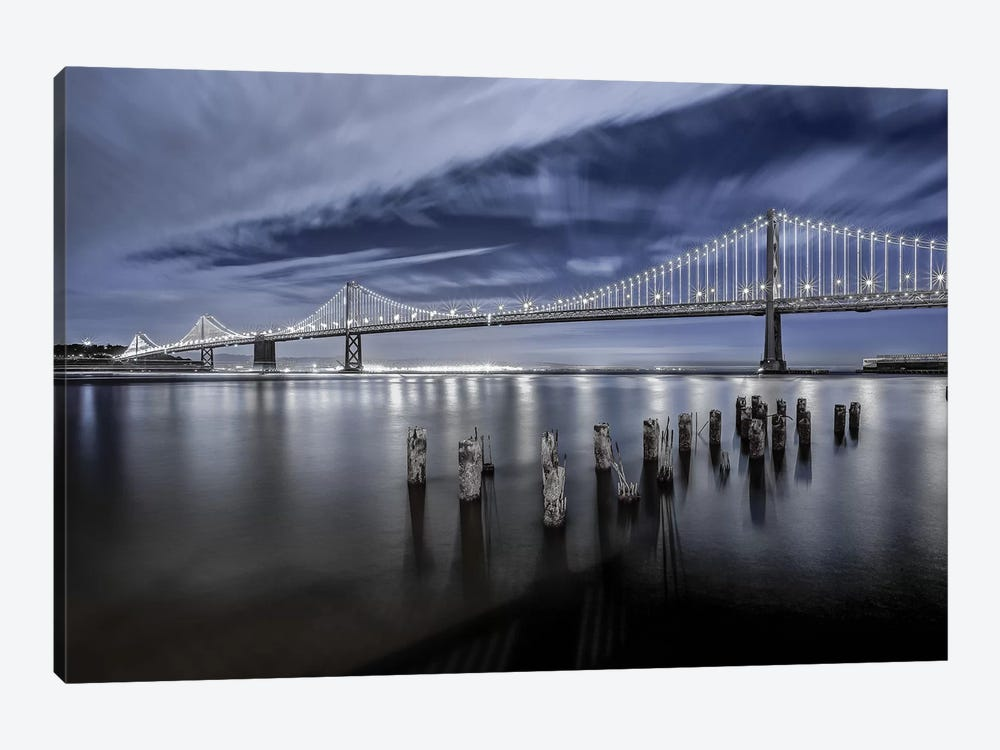 The Bay Bridge Lights by Toby Harriman 1-piece Canvas Artwork
