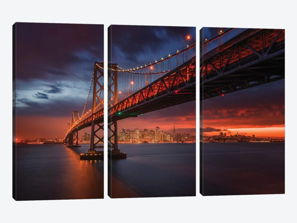 Fire Over San Francisco by Toby Harriman 3-piece Canvas Art
