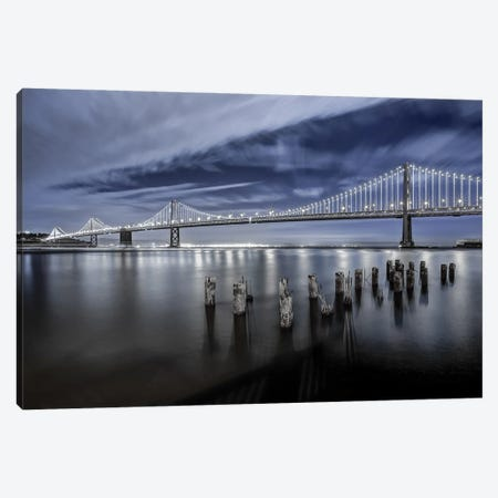 The Bay Bridge Lights San Francisco Canvas Print #THV8} by Toby Harriman Canvas Wall Art