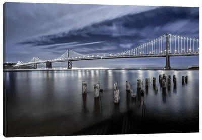 The Bay Bridge Lights San Francisco Canvas Art Print